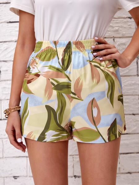 Plants Print Elastic Waist Shorts