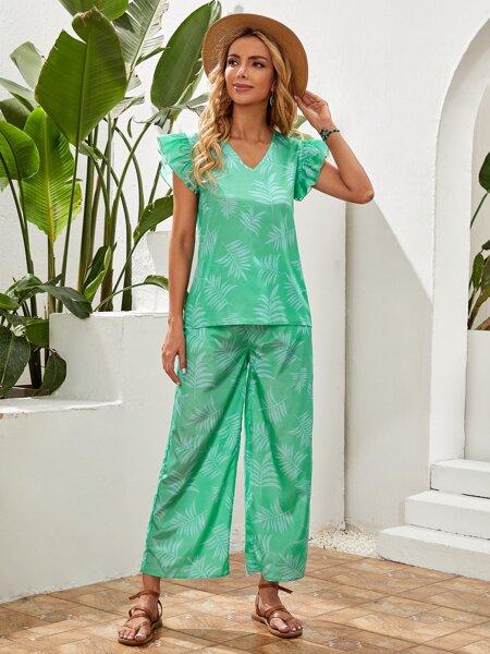 Tropical Print Ruffle Sleeve Blouse & Pants