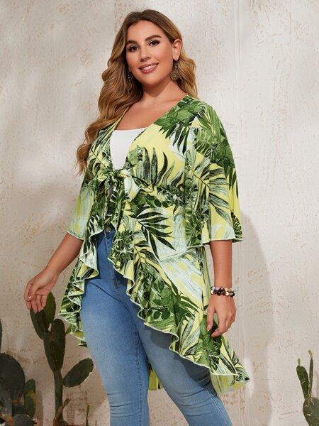 Plus Leaf Pattern Asymmetrical Trim Kimono