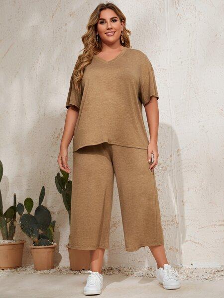 Plus Solid V Neck Drop Shoulder Tee & Pants
