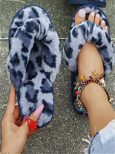 Leopard Graphic Fluffy Bedroom Slippers