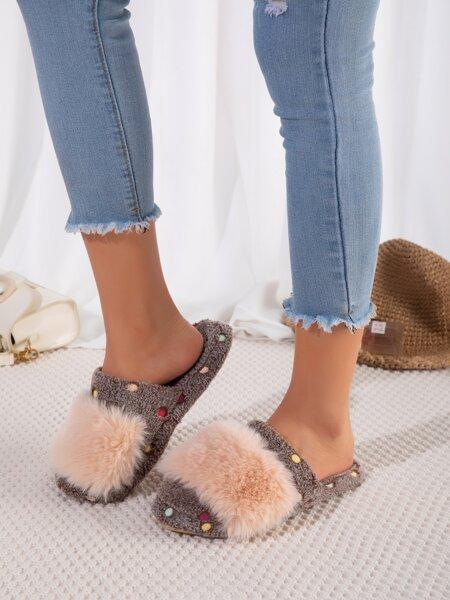 Fluffy Dot Decor Novelty Slippers