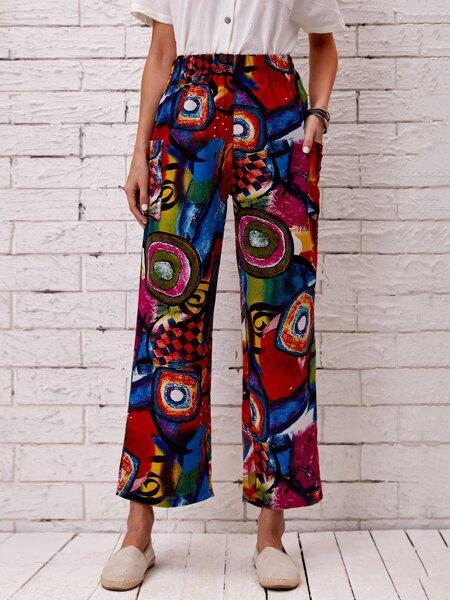 Graffiti Print Wide Leg Pants