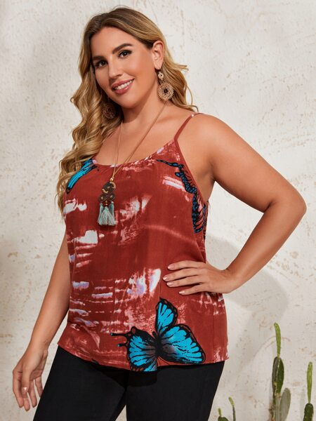 Plus Butterfly Print Cami Top