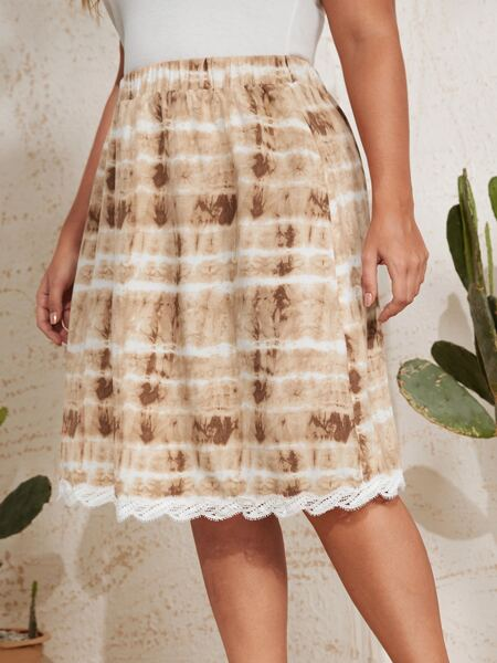 Plus Eyelash Lace Trim Tie Dye Skirt