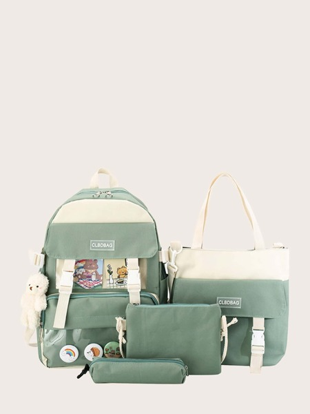 4pcs Cartoon Charm Backpack Set