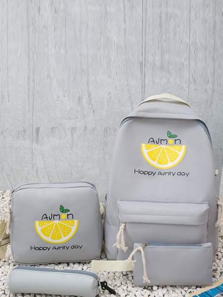 4pcs Fruit Graphic Backpack Set