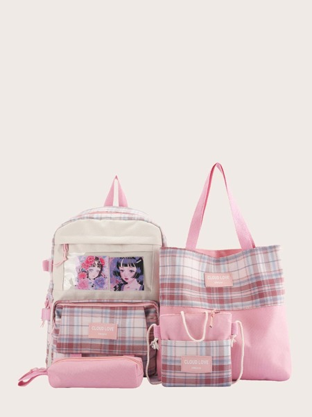 4pcs Figure Graphic Gingham Backpack Set