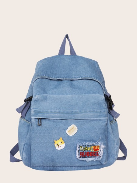 Cartoon Decor Pocket Front Backpack