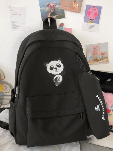 Cartoon Graphic Backpack With Pencil Case