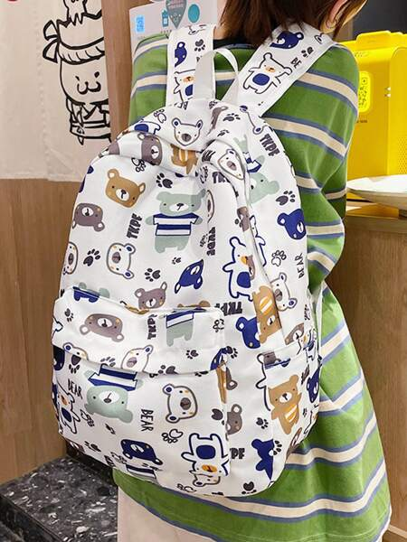Cartoon Graphic Pocket Front Backpack
