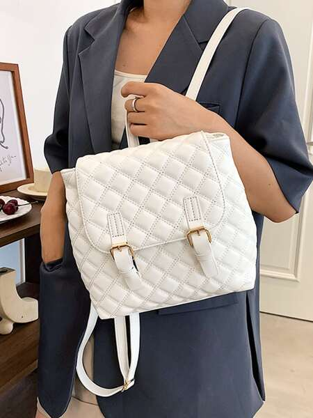 Double Buckle Quilted Flap Backpack