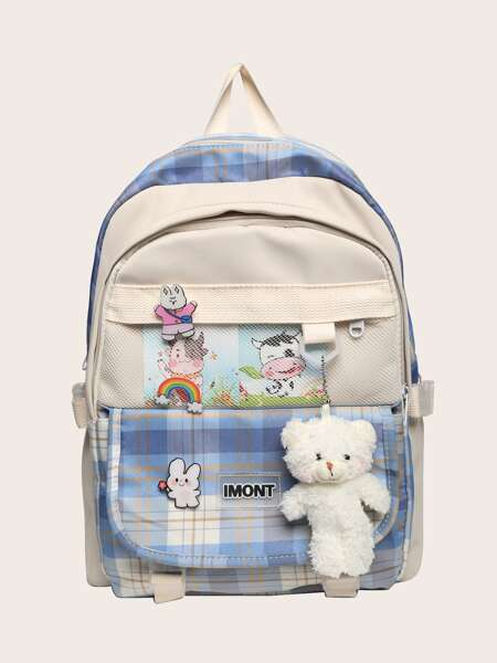 Buckle Decor Plaid Functional Backpack