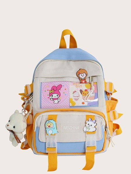 Buckle Decor Functional Backpack With Bag Charm