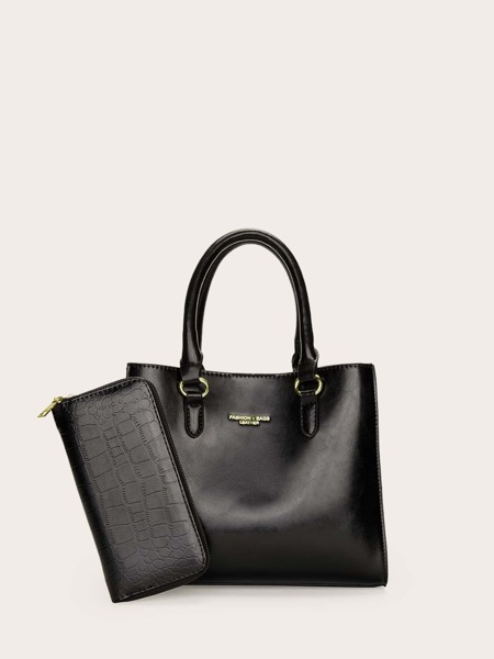 Minimalist Top Handle Bag With Long Wallet