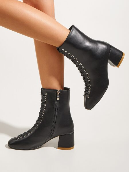 Lace-up Front Chunky Heeled Boots