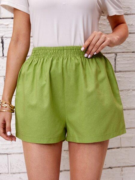 Slant Pocket Solid Shorts