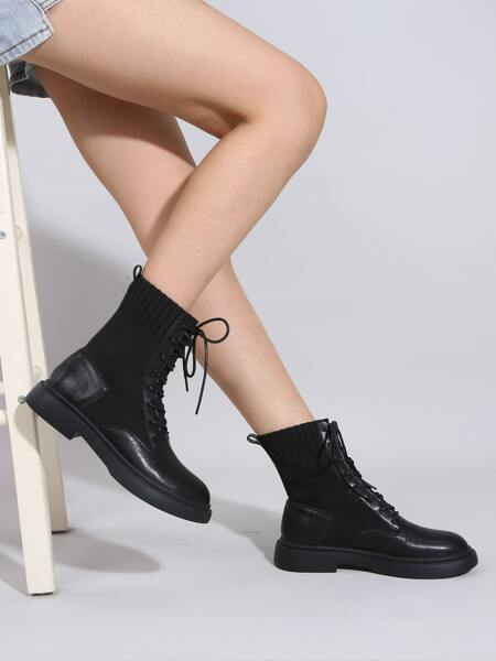 Minimalist Lace-up Front Knit Boots