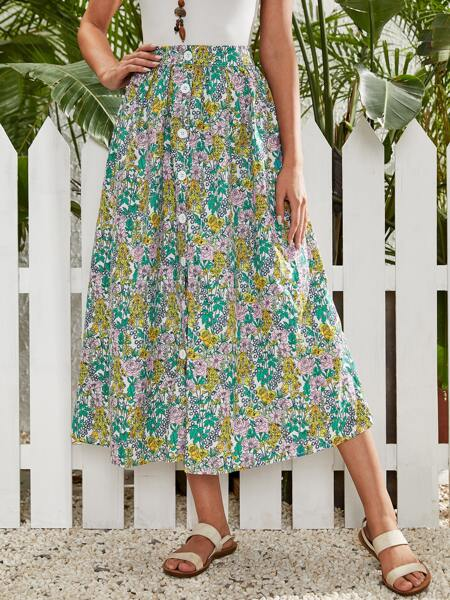 Allover Floral Button Front Skirt