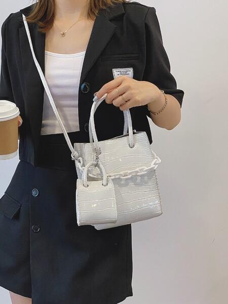 Minimalist Croc Embossed Satchel Bag With Mini Pouch