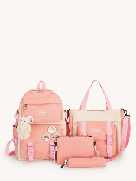4pcs Colorblock Pattern Bear Charm Bag Set
