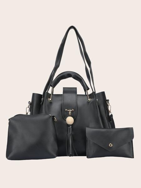 3pcs Minimalist Tassel Decor Tote Bag Set