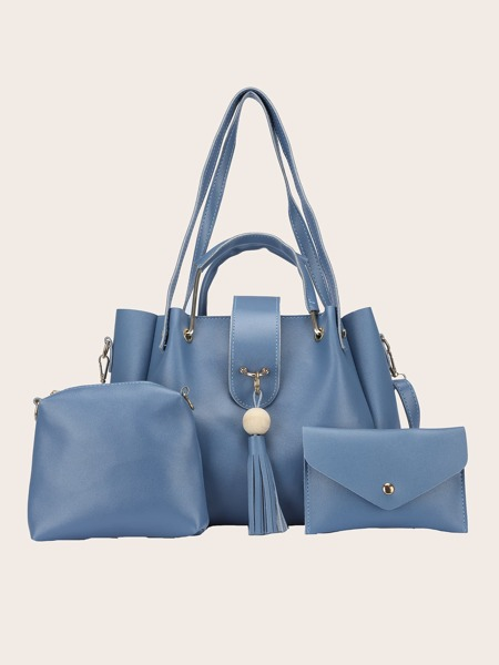 3Pcs Minimalist Tassel Decor Bag Set