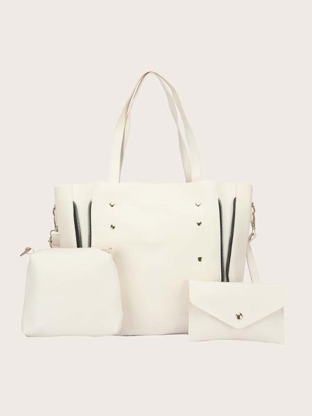 3Pcs Minimalist Studded Decor Bag Set