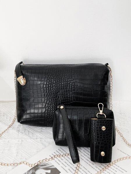 4pcs Croc Embossed Bag Set