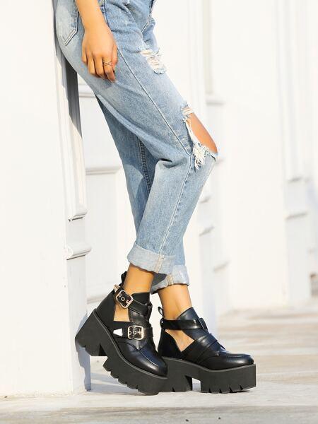 Buckle Decor Platform Chunky Heeled Boots