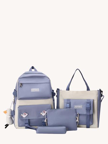 4Pcs Two Tone Buckle Decor Bag Set