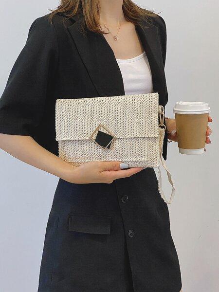 Metal Decor Straw Design Clutch Bag
