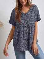 Buttoned Front Ditsy Floral Blouse