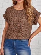 Rolled Cuff Allover Print Top