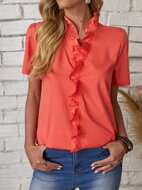 Solid Ruffle Trim Blouse