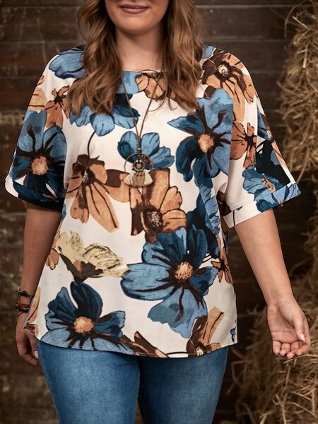 Plus All Over Floral Print Blouse