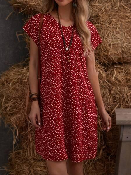Batwing Sleeve Allover Heart Print Dress