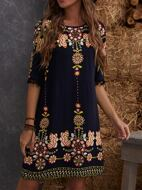 Pompom Detail Floral Print Tunic Dress