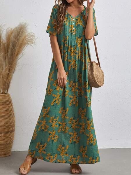 Button Front Fold Pleated Ditsy Floral Dress