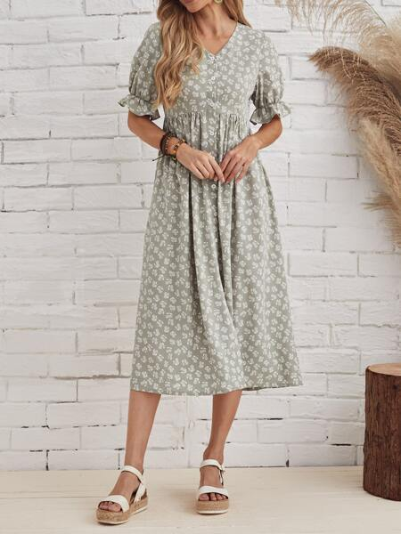 Ruffle Cuff Button Front Ditsy Floral Dress
