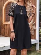 Leopard Print Raglan Sleeve Tee Dress