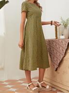 High Waist Gingham Dress