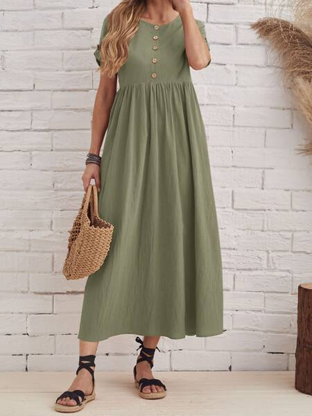 Solid Rolled Sleeve Button Front Dress
