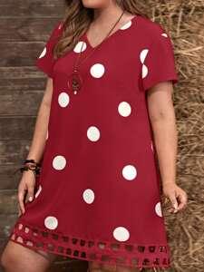 Plus Polka Dot Cut Out Hem Tunic Dress