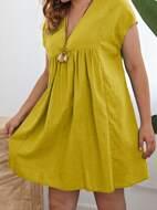 Plus V-neck Cap Sleeve Solid Smock Dress