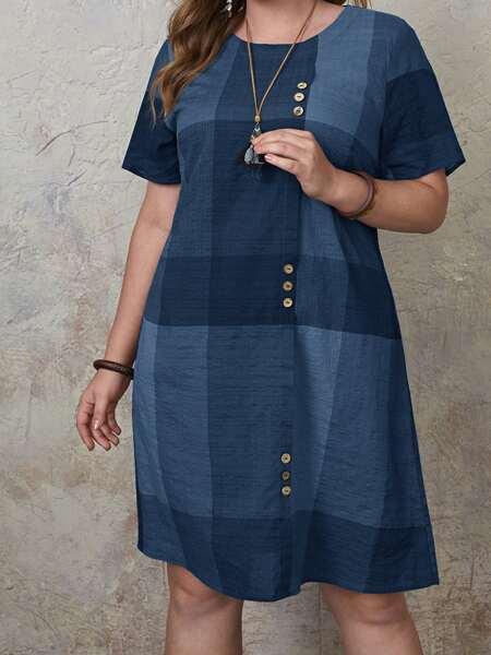Plus Button Front Color Block Tunic Dress