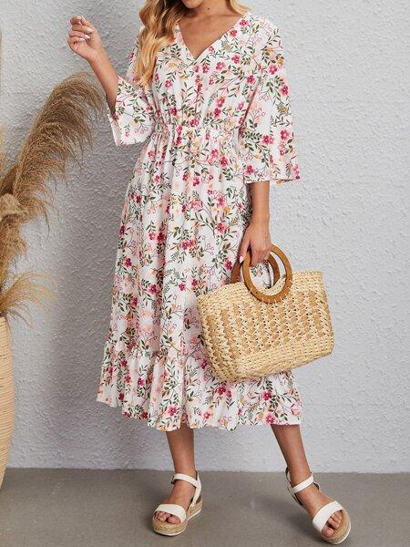Half Button Allover Floral A-line Dress
