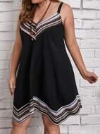 Plus Geo Striped Cami Dress