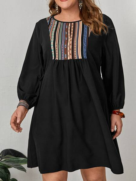 Plus Striped Print A-line Dress