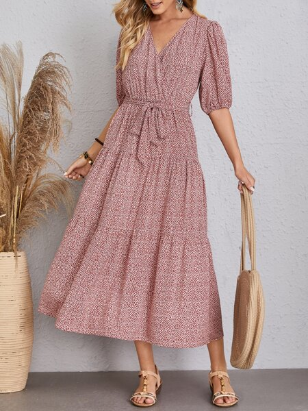 Ditsy Floral Belted Surplice Front Dress